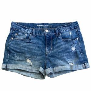 Old Navy Boyfriend Distressed Cuffed Shorts Sz. 8